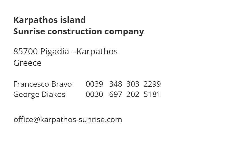 Karpathos island - Sunrise construction company - Impressum
